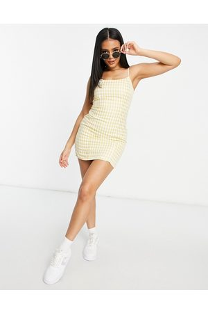 Missguided Bodycon mini dress with slim strap in gingham
