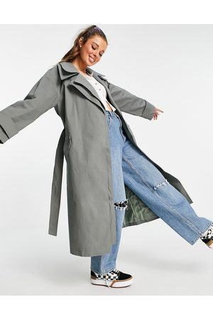 ASOS Double layer trench coat in charcoal