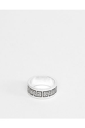 ASOS Band ring with column emboss in burnished tone