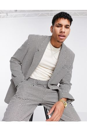 ASOS Skinny jacket with power shoulder in dogstooth