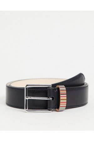 Paul Smith Leather belt with classic stripe keeper in