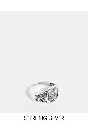 ASOS Sterling signet ring with St Christopher design in burnished