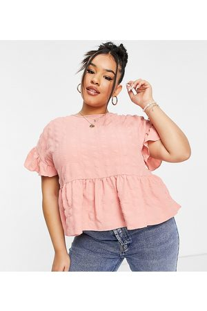 ASOS ASOS DESIGN Curve textured smock top with frill sleeve in peach