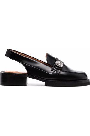 Ganni Crystal-embellished slingback loafers