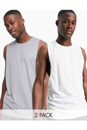 ASOS Icon training sleeveless t-shirt dropped armhole and quick dry 2 pack SAVE-Multi