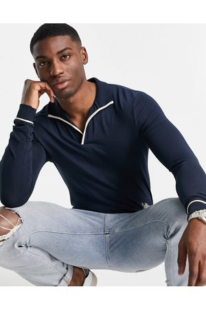 ASOS Long sleeve smart revere polo with tipping detail in navy