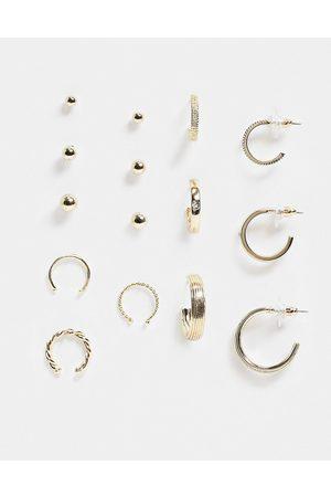 ASOS Pack of 9 earrings in tone