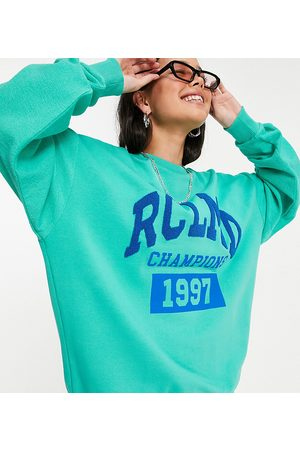 Reclaimed Vintage Inspired unisex spliced reverse sweat with logo print in aqua