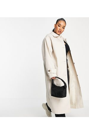 ASOS Curve longline trench coat in stone