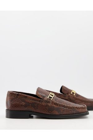 ASOS Loafers in snake leather with square toe and snaffle
