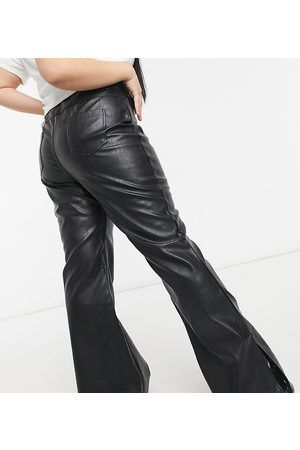 In The Style X Olivia Bowen leather look flared trouser with split hem in