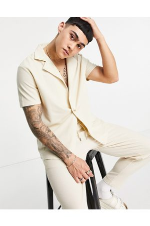 ASOS Co-ord heavyweight waffle wrap jersey shirt in -Neutral