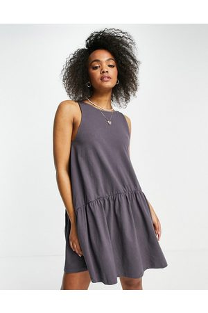 ASOS Sleeveless smock dress with v back in slate
