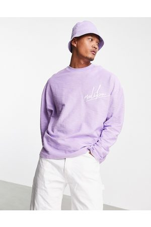 ASOS Oversized long sleeve t-shirt in heavyweight slub with chest embroidery