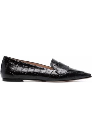 Scarosso Women Loafers - Croc-effect pointed loafers