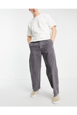 ASOS Wide leg trousers with pleats in cord in charcoal