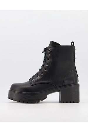 Koi Footwear KOI vegan chunky studded heeled lace up boots in