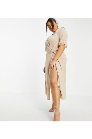 ASOS ASOS DESIGN Curve wrap tux midi dress with shoulder pads in stone-Neutral