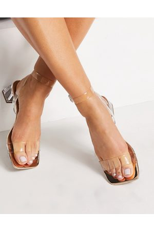 ASOS Hope block heeled sandals in clear and rose