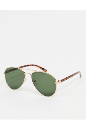 ASOS 90s aviator sunglasses in gold and tort with green lens