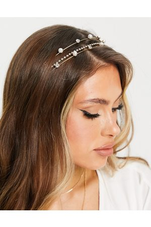 ASOS Metal headband with diamante and pearl detail