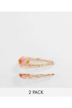 ASOS Pack of 2 hair clips with trapped flowers