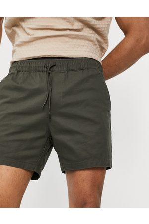 ASOS Skinny chino shorts with elastic waist in khaki