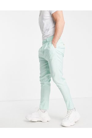 ASOS Tapered smart trousers in mint linen