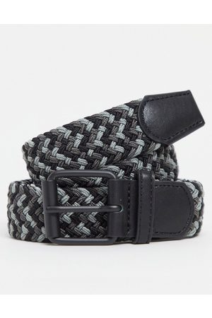 ASOS Slim woven belt in and grey mix with roller buckle