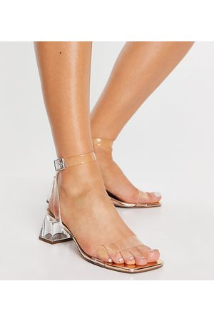 ASOS Wide Fit Hope block heeled sandals in clear and rose gold