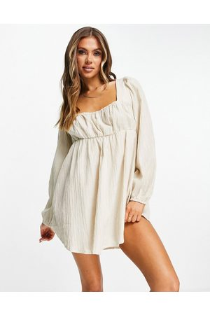 ASOS Square neck milkmaid beach cover up in oatmeal