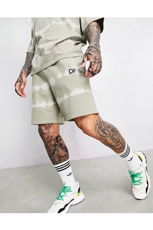 ASOS Co-ord relaxed short with logo print in khaki tie dye