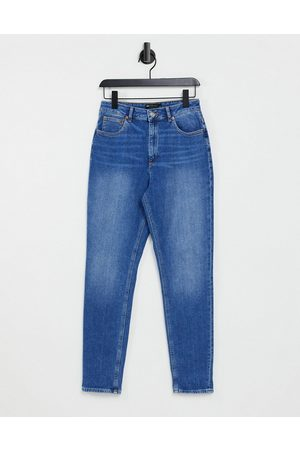 ASOS Hourglass high rise farleigh 'slim' mom jeans in midwash