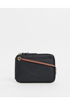 ASOS Leather travel wallet in with contrast brown internals
