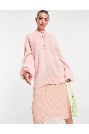 Annorlunda Oversized sweatshirt with high button neck
