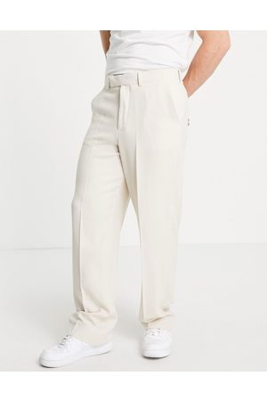 ASOS Soft tailored wide leg suit trousers in ecru crepe-Neutral
