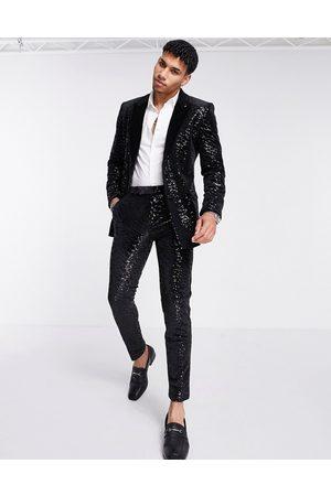 ASOS Super skinny velvet sequin suit trousers
