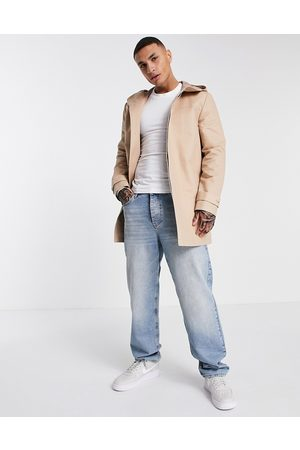 ASOS Hooded trench coat with shower resistance in stone-Neutral
