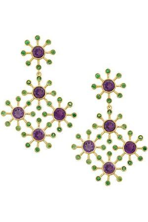 Ileana Makri Earrings - Florescence 18K , Tsavorite & Amethyst Blossom Drop Earrings