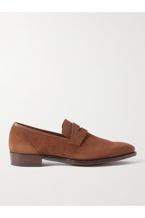 GEORGE CLEVERLEY George Leather-Trimmed Pebble-Grain Suede Penny Loafers