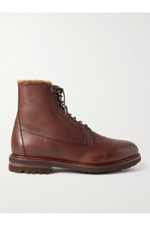 Brunello Cucinelli Shearling-Lined Full-Grain Leather Boots
