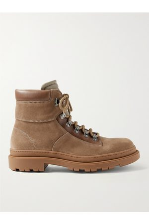 Brunello Cucinelli Leather-Trimmed Suede Boots