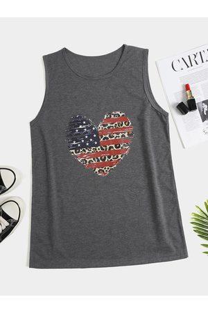 YOINS Heart Shape Star & Striped Print Crew Neck Sleeveless Tank Top