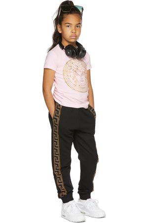 Versace Kids Pink Rhinestone Medusa T-Shirt