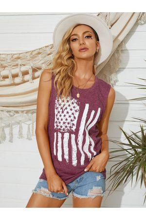 YOINS Star & Striped American Flag Print Round Neck Sleeveless Tank Top