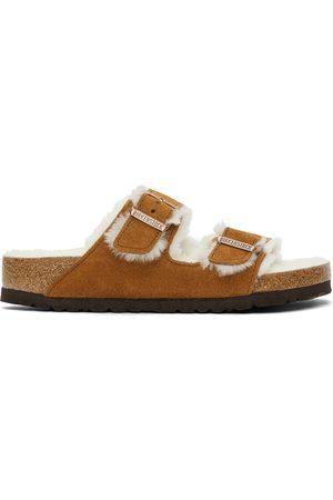 Men Sandals - Birkenstock Tan Shearling & Suede Arizona Fur Sandals