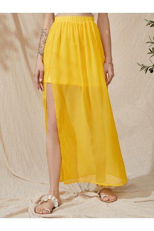 YOINS Semi Sheer With Lining Elastic Waist Maxi Skirt