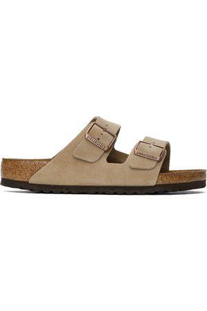 Men Sandals - Birkenstock Taupe Suede Soft Footbed Arizona Sandals