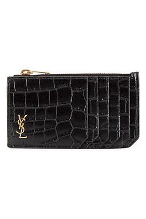 Saint Laurent Crocodile-Embossed Leather Card Case