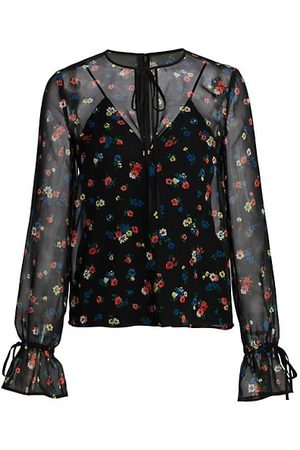 RED Valentino Illusion Tie-Neck Floral Blouse